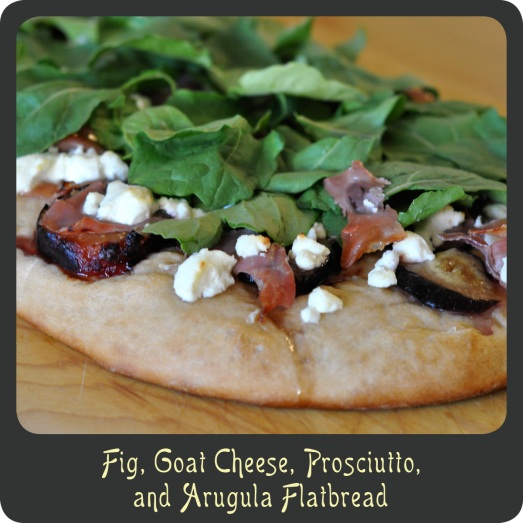 Fig, Goat Cheese, Prosciutto, and Arugula Flatbread