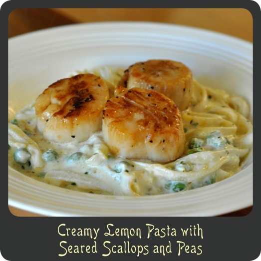 Creamy Lemon Pasta with Seared Scallops and Peas