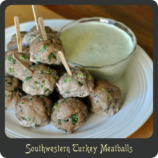 Southwest Turkey Meatballs with Creamy Cilantro Lime Sauce