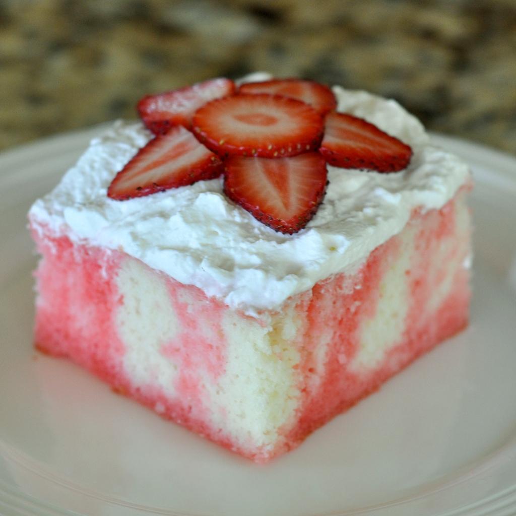 Strawberries & Cream Poke Cake