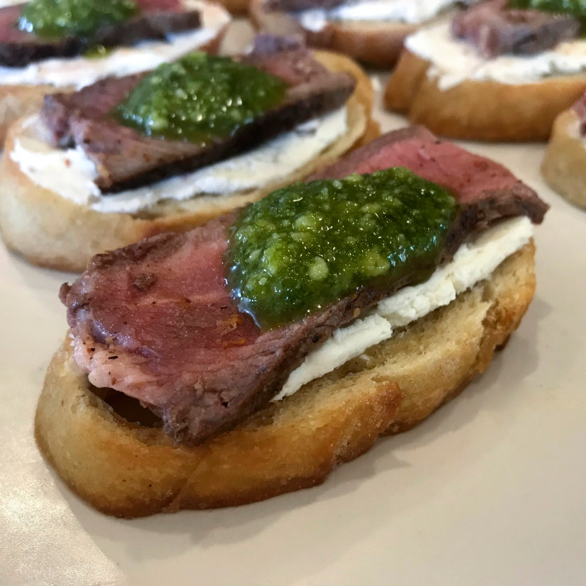 Steak and Goat Cheese Crostini with Pesto