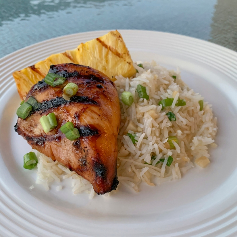 Hawaiian Grilled Chicken and Grilled Pineapple Over Macadamia Nut Rice