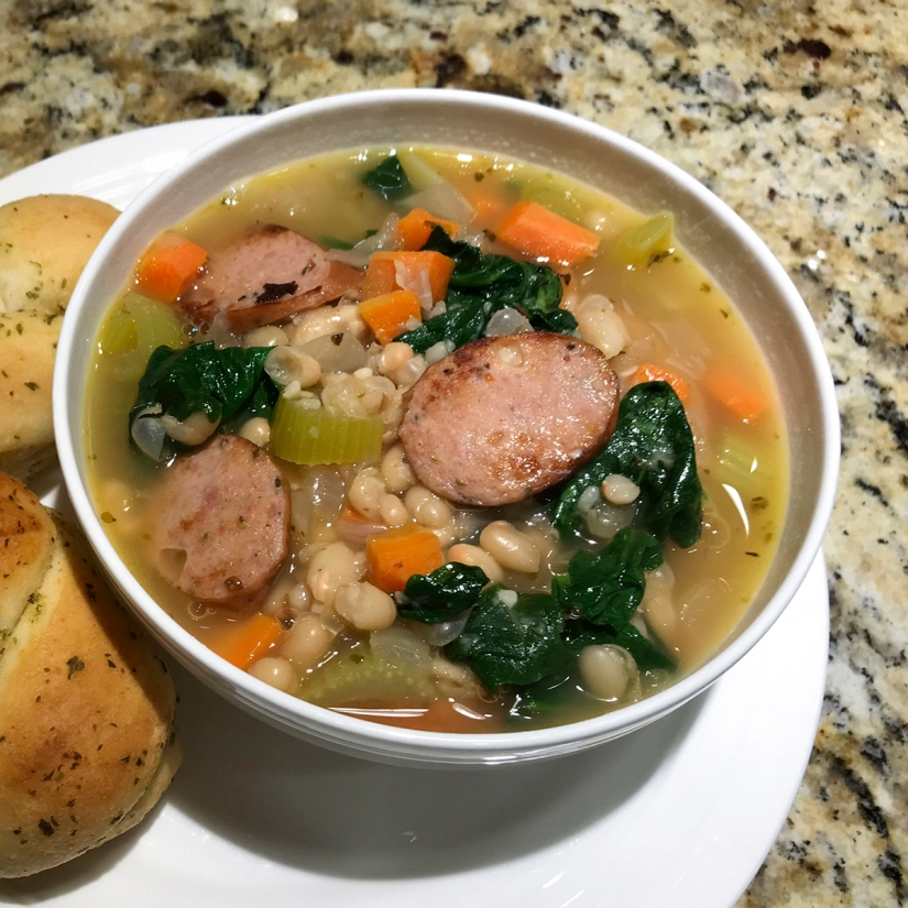 20 Minute Sausage, Spinach, & White Bean Soup